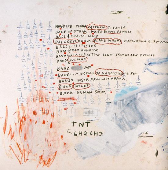 """Eroica, Basquiat 1988 (""""man dies"""" is written over & over)"""