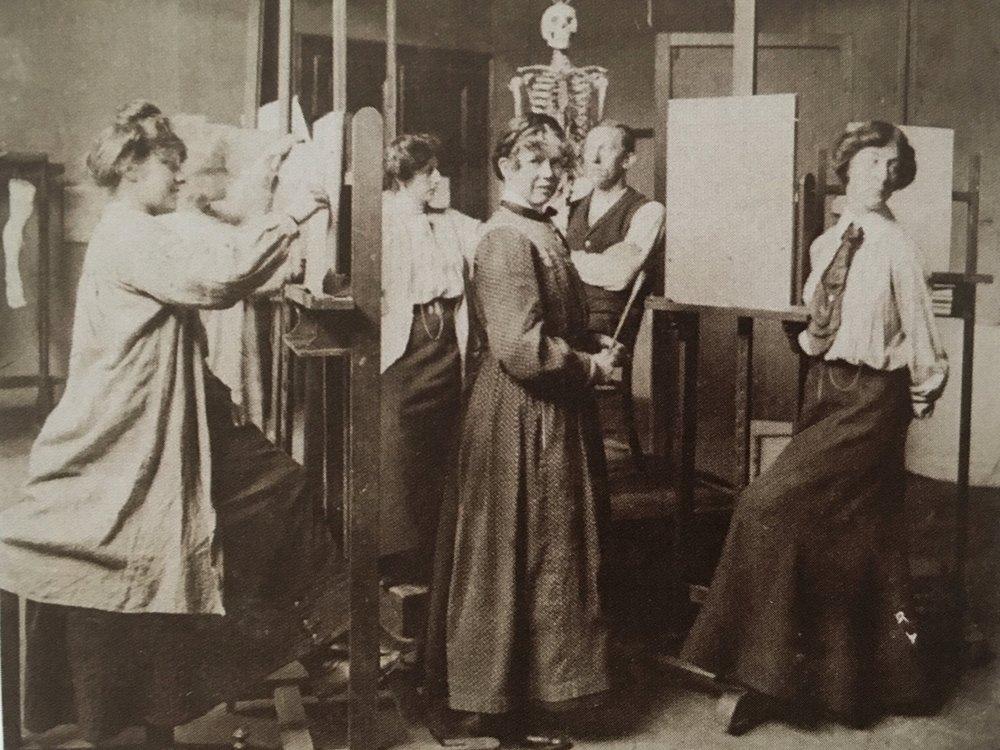 Sonia in Ludwig Schmid-Reutte's drawing studio in Karlsruhe