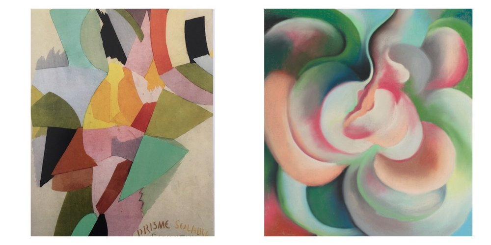 Sonia Delaunay Simultaneous Color Prism, 1914 and Georgia O'Keeffe Pink and Green, 1922
