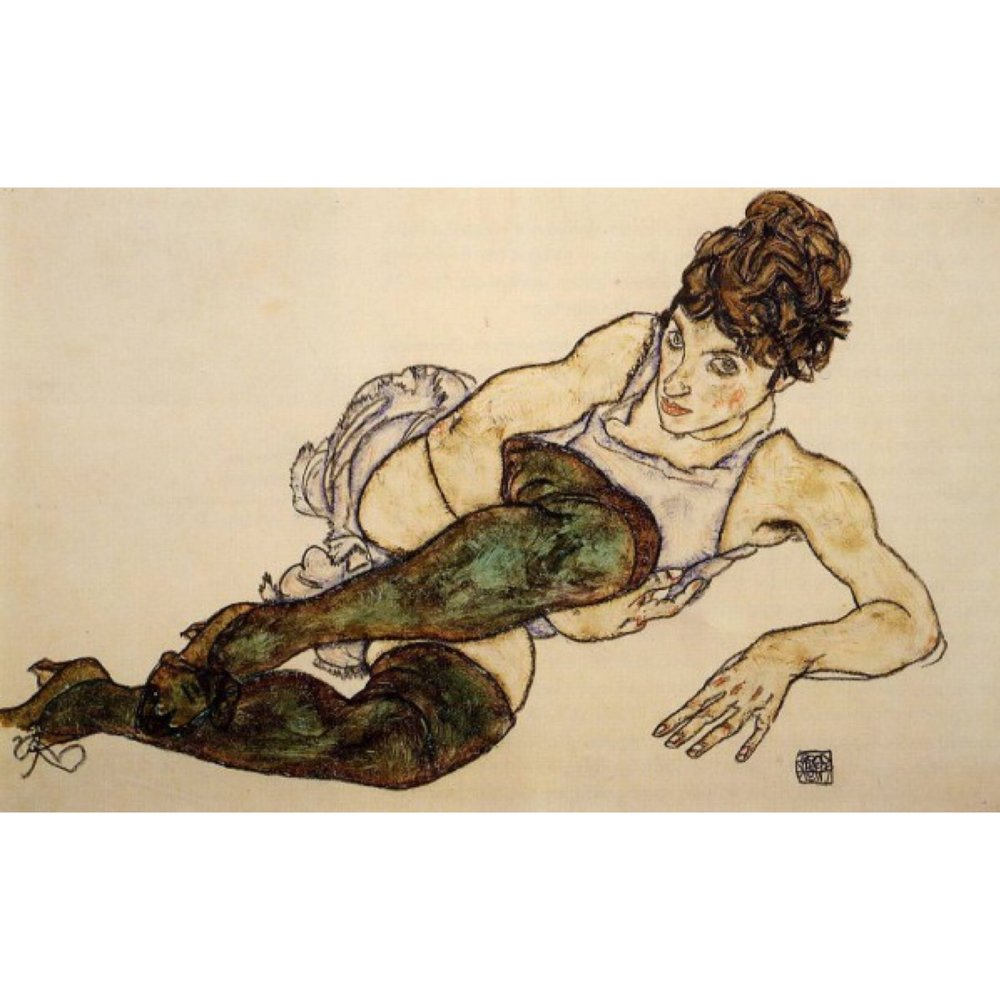 Reclining Woman with Green Stockings, 1917