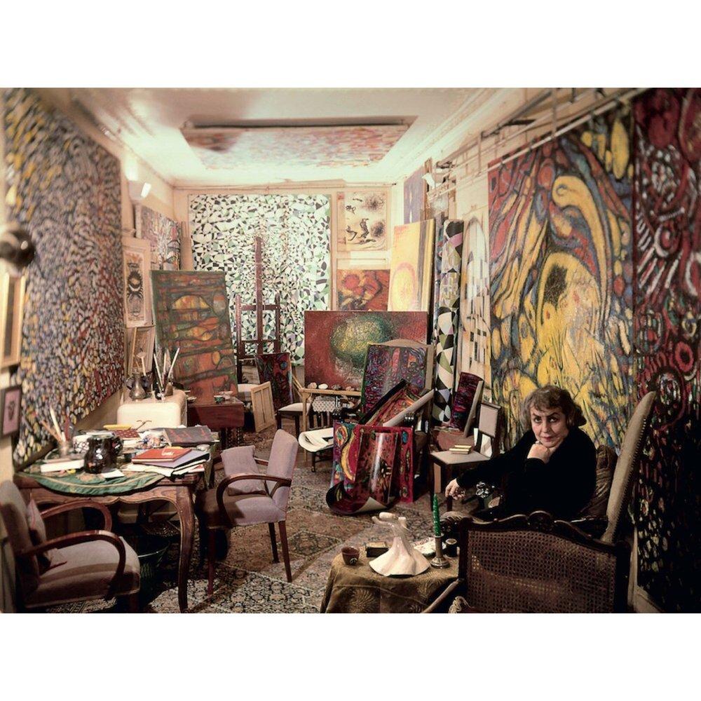 Fahrelnissa Zeid in her studio in Paris, c.1960s