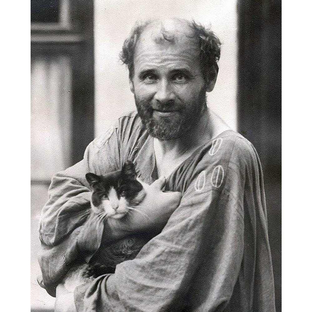 Gustav Klimt and his Cat, Katze, at his Studio, c. 1912