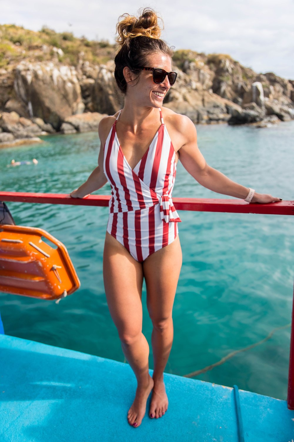 Red & White Stripe One-Piece