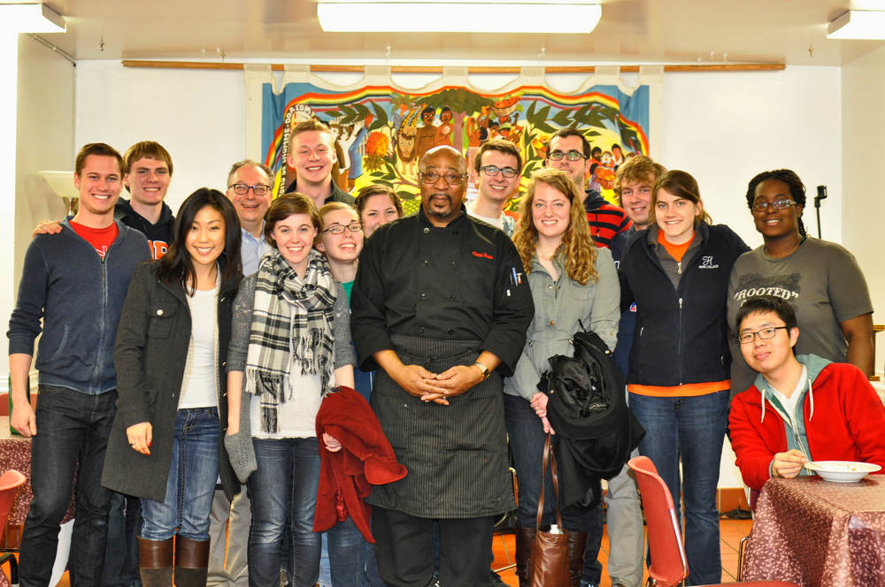 "Emmaus Scholars with ""Hollywood"" (chef Vincent Moore) from Christ House (a fully integrated medical facility and intentional community serving homeless men and women) in Washington, D.C., March 20, 2014."