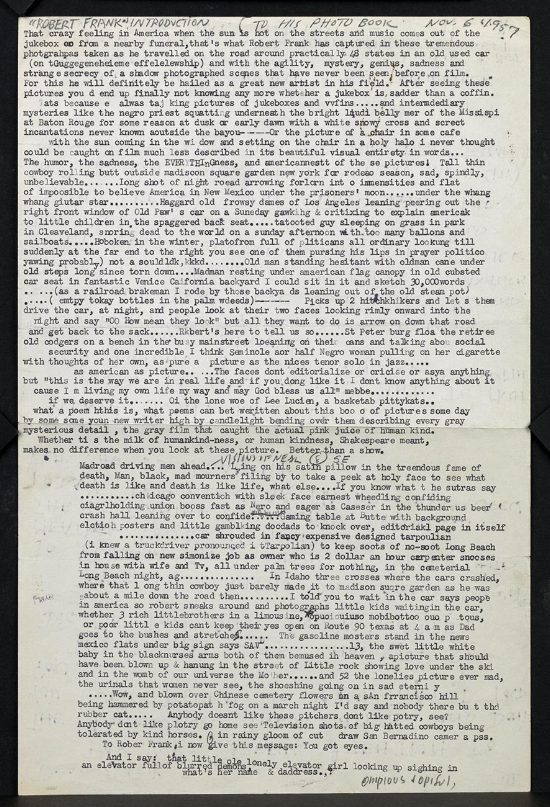 """First draft of Jack Kerouac's ""Introduction"" for Robert Frank's The Americans, 1957."
