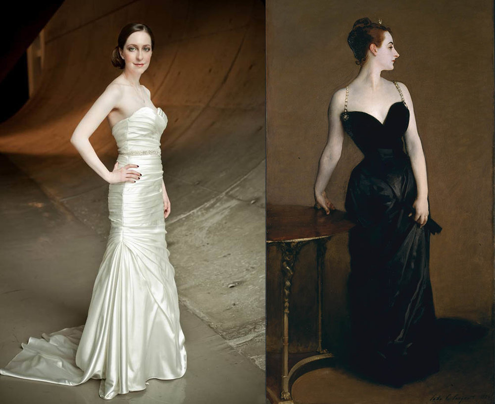On the left: One of my wedding photographs.  On the right:  John Singer Sargent,  Portrait of Madam X , 1884.