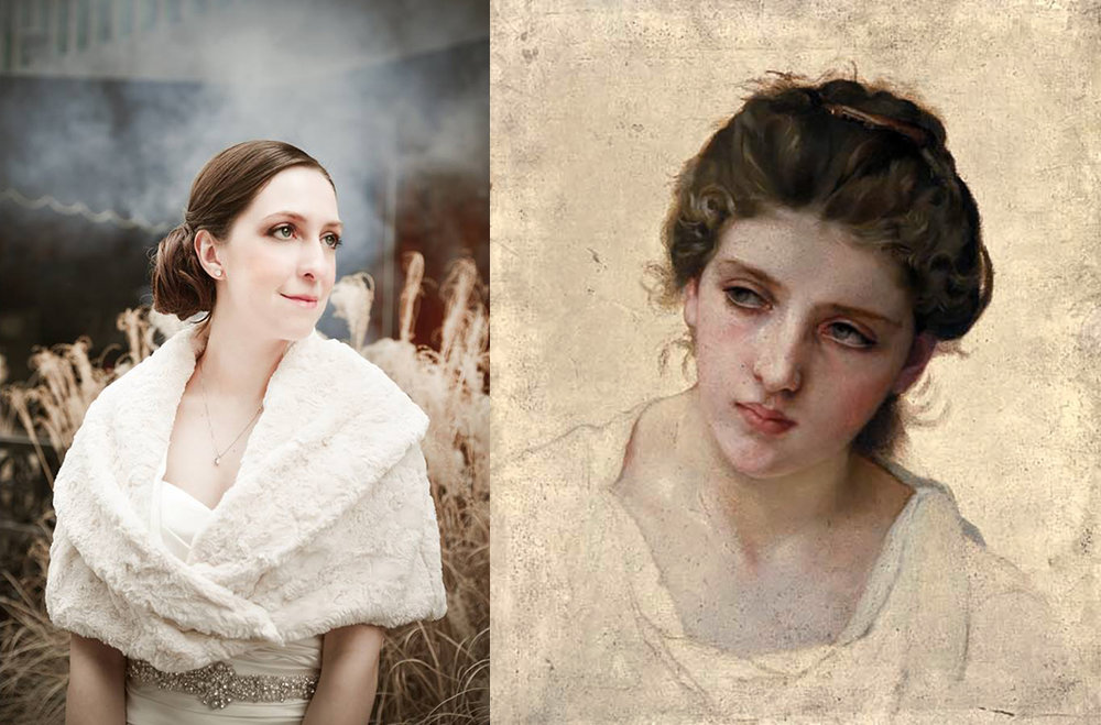 On the left: One of my wedding photographs.  On the right:   William-Adolphe Bouguereau,      Study of the Head of a Blonde Woman .