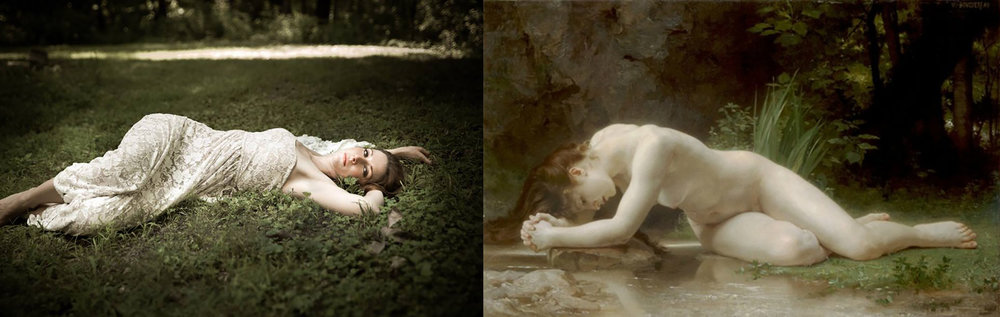 On the left:  One of my wedding photographs.  On the right:   William-Adolphe Bouguereau,  Biblis , 1884.