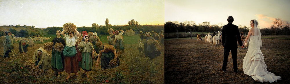 On the left: Jules Breton,    The Return of the Gleaners , 1859.  On the right:  one of my wedding photographs.
