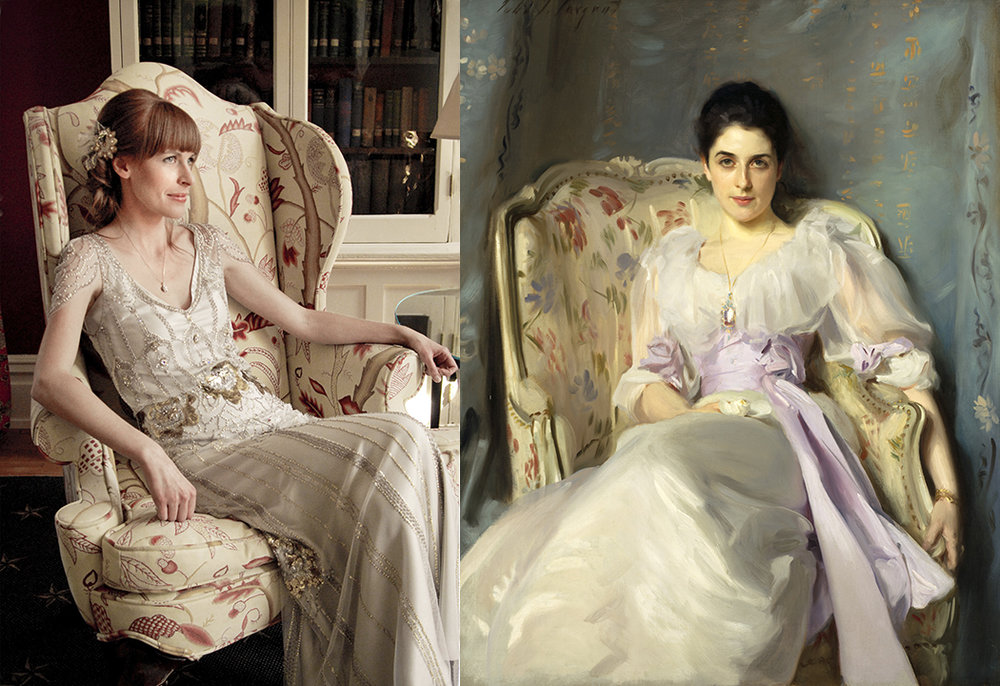 On the left: One of my wedding photographs.  On the right:  John Singer Sargent,  Lady Agnew of Lochnaw, 1892.