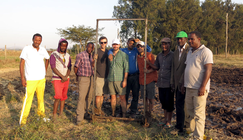 The crew who spent a long day plowing and preparing the land at Debre Zeit research center. South of Addis Ababa.