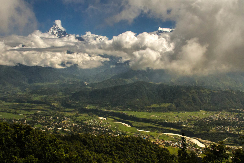 Majestic view of the Annapruna and Pokhara valley from the nearby Sarankot peak.