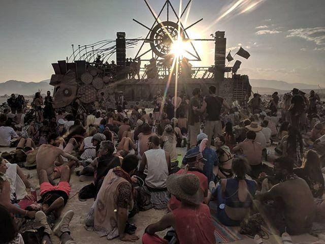 From a long sound meditation to a dance party in minutes. The Mind Warrior is versatile like that.  #burningman