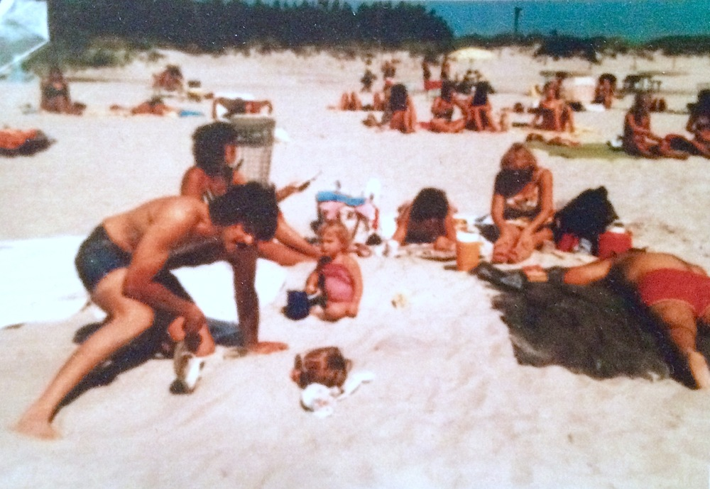 Diane, buried in the sand, rocking her fave pair of shades. Tobay Beach, Long Island, New York 1982