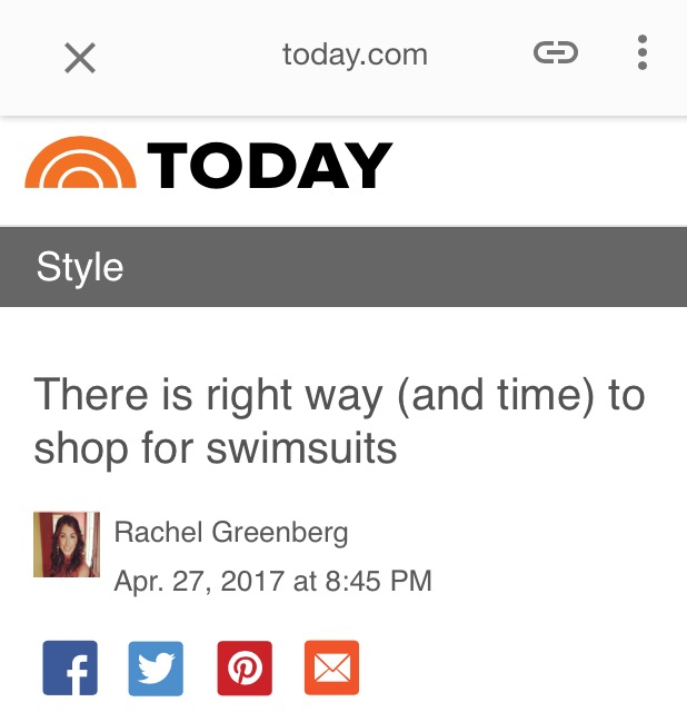 Today.com, There is a right way (and time) to shop for swimsuits, by Rachel Greenberg April 27th, 2017