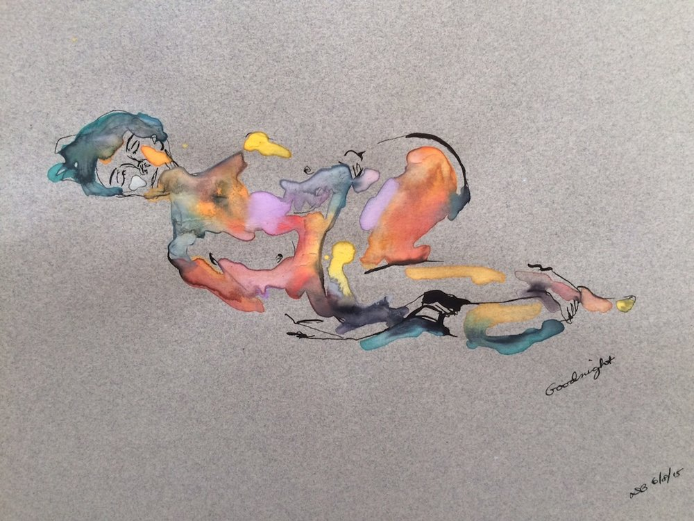 "Goodnight  by Diane Belgrod, 2015, ink & watercolor on pastel paper, 9"" x 12"""