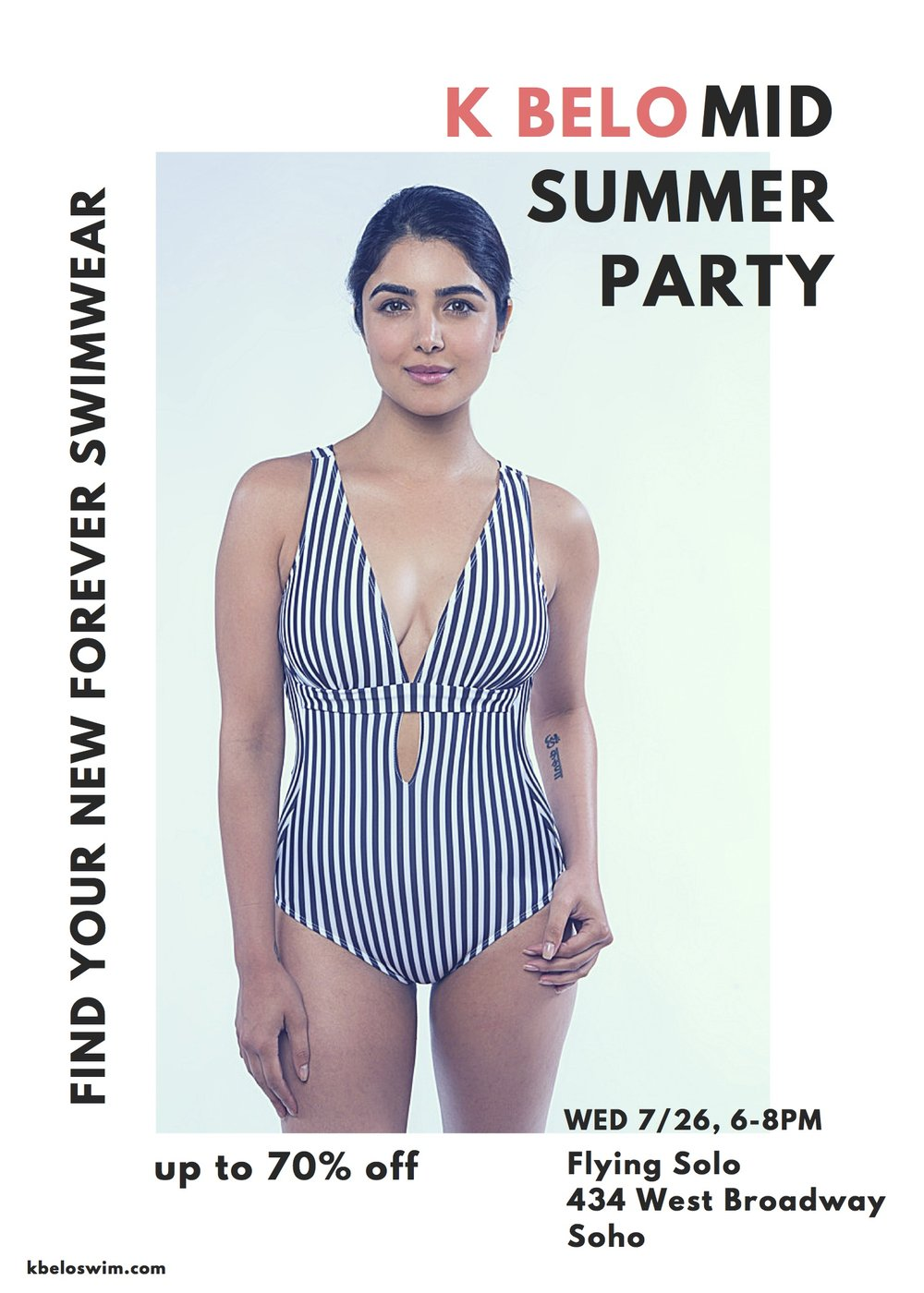 Join us for our K Belo mid summer party to celebrate our new collection, our collaboration with Flying Solo, and that summer is fully here!  Wednesday 7/26, 6-8pm Flying Solo 434 West Broadway NY, NY K Belo swimwear is designed to last many summers, because we know how sad it is to say goodbye to a cherished, well loved swimsuit. If you know that feeling and are looking for swimwear you can love forever, come have a drink with us and shop our beautiful new collection and our classic styles.  The Summer 2017 collection is inspired by the wild beauty of the shoreline, where the ocean meets the sand, and that feeling of lightness it creates in us to stand in such vastness on the edge of a continent meeting the edge of the sea. All K Belo swimwear is made locally in New York of eco and sustainable recycled Italian fabric, SPF 50, so that we can do our part to lessen the environmental impact of the fashion industry. A percentage of all sales from the event will be donated to the Surfrider foundation. www.kbeloswim.com www.flyingsolo.nyc www.surfrider.org