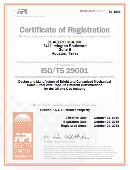 ISO/TS 29001 - Deacero USA