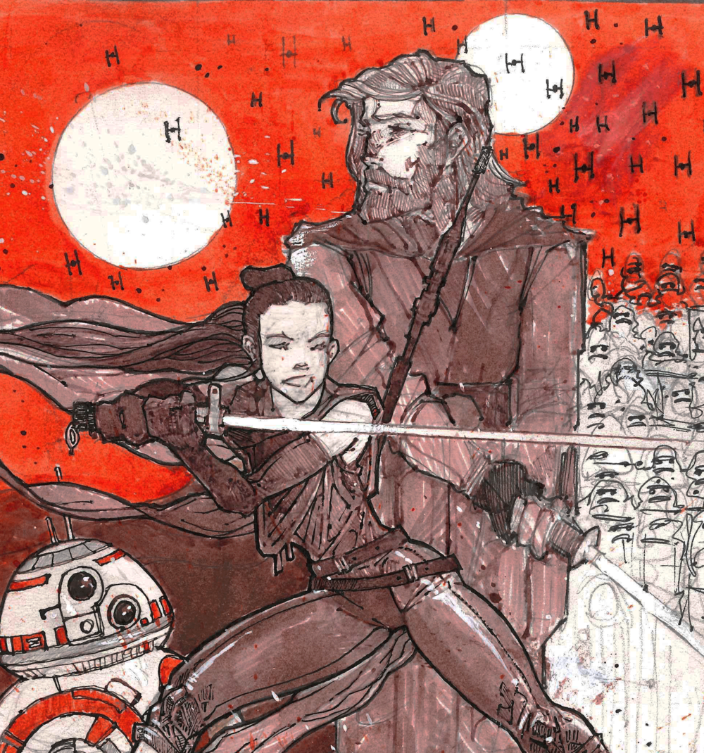 The Last JEDI - This illustration was made for the launch of the Last JEDI trailer in 2017.The style is one that mixes the rough texture of inks, pencil and gauche paint, with digital effects, painting techniques and flat graphic design elements. The combination is one that puts layer upon layers of techniques and effects on top of each other to create a lively and almost vibrating final expression that is as stylish as it is unique.The drawing is depicting Rey and Luke Skywalker as the Last JEDI, standing ready to confront the New Order.
