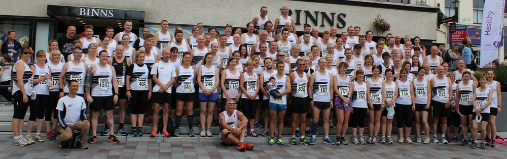 The Quakers at the start of the Darlington 10k in 2015, where we had 120 runners in the race. We can often be found en masse in our distinctive black and white kit at many races across the Tees Valley and beyond!