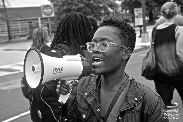 Dominique at the Grocery March. Photo by Salim Adofo @salimadofo