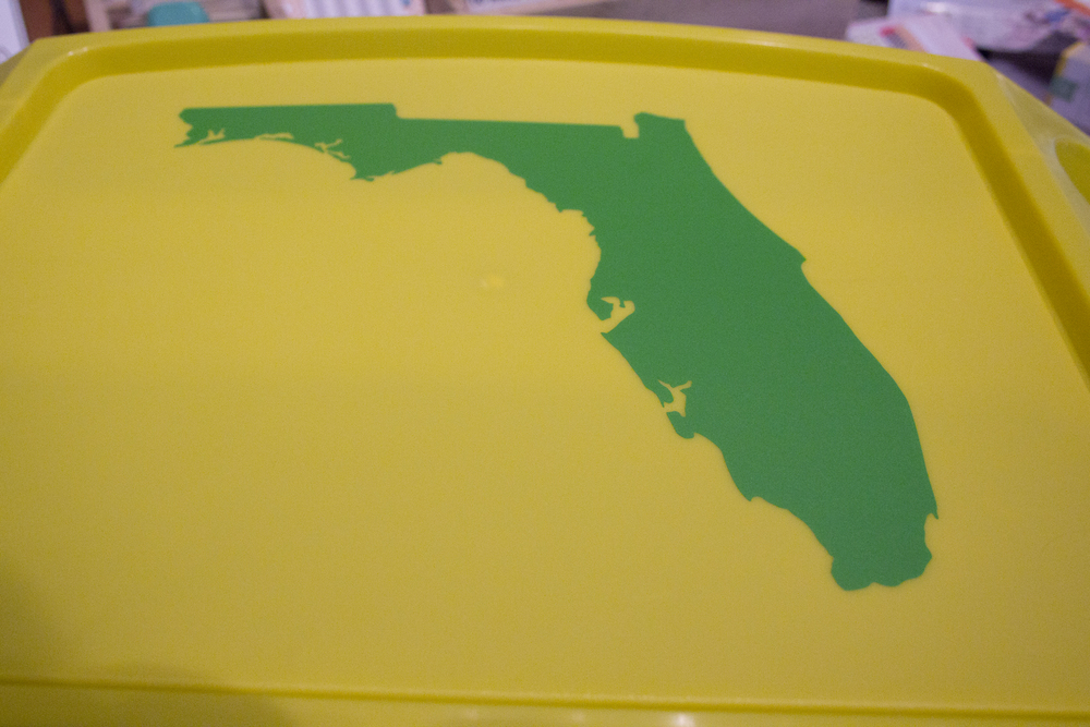 cut the silhouette out of florida on the  silhouette cameo.