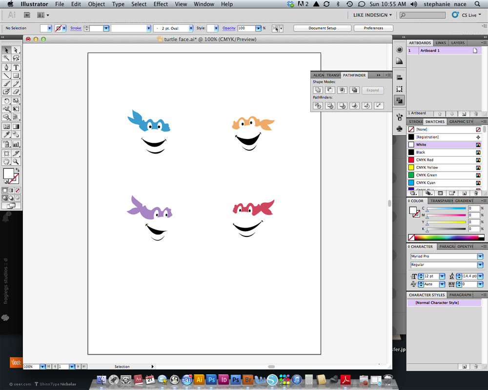 again, i design the whole look in illustrator and then divide them up by color.