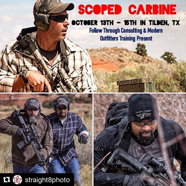 "#Repost @straight8photo with @repostapp ・・・ We will be covering the @followthroughbuck  and @modernoutfitters Scoped Carbine course this October! Go to modernoutfitters.com to sign up!  COURSE DESCRIPTION: Scoped Carbine is a three-day shooters' experience designed to bring the physical, mental, and technical aspects of gun fighting off of the square range and into a rugged, rural environment where shooters learn to maximize the capability of their carbine/AR rifle.  Buck Doyle brings over a decade of observation and experience on and off the battlefield in teaching students to shoot, move, and communicate—from the gunfighter's perspective.  In the midst of the Capitol Reef's spectacular scenery, at elevations of 6700 ft., students will go from engaging targets at CQB to maximum effective range of their weapon system.  Developing full-field situational awareness and addressing the variables of physical and mental duress, shooters will understand what it takes to master the fundamentals of marksmanship in a practical, real-world environment.  Subjects covered include zeroing/truing, range estimation (Accuracy 1st 12"" Rapid Engagement Formula), utilizing practical supported/non-supported shooting positions from cover and concealment, fire & maneuver, observation methods with a rifle scope, atmospherics, and accurately engaging targets from under 100 to 800+ meters.  #straight8photo #dailybadass #igmilitia  #weaponsdaily #gunsofinstagram #gunsdaily #dailyrifle #weaponsreloaded  #ar15 #defendthesecond #freedom #patriots #igguns #firearms #weaponfanatics #getsome #sickguns #firearmsphotography"