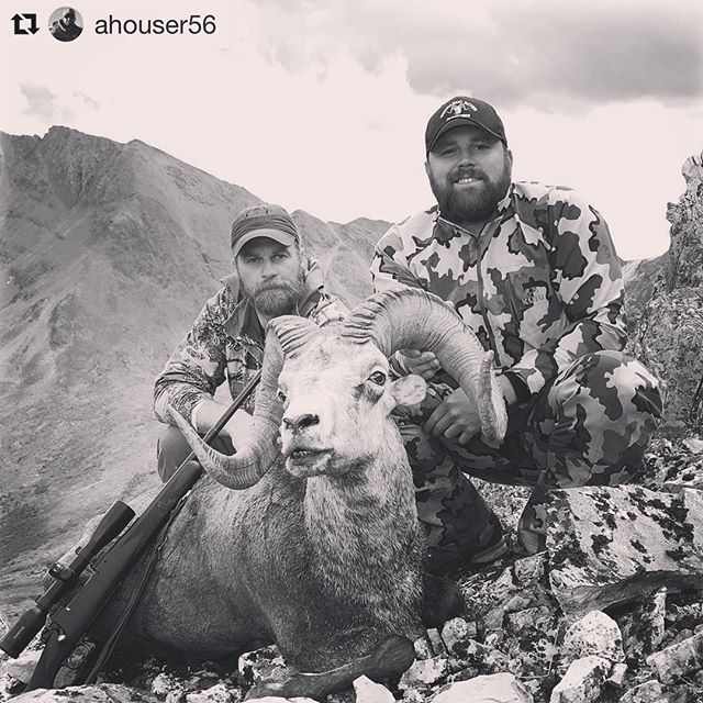 """#Repost @ahouser56 with @repostapp ・・・ Huge congrats to @samgruner aka """"biggie size"""" who took this awesome trophy this morning. Sam has taken two NA sheep plus a mountain goat. I really admire sheep hunters. People have no idea how physically and mentally demanding these hunts are on your body. We are proud of you big boy, congrats from the @modernoutfitters family!  #happymodernoutfitting #modernoutfittershunting #moderncarbine #modernoutfitters #grandslampursuit #kuiu"""