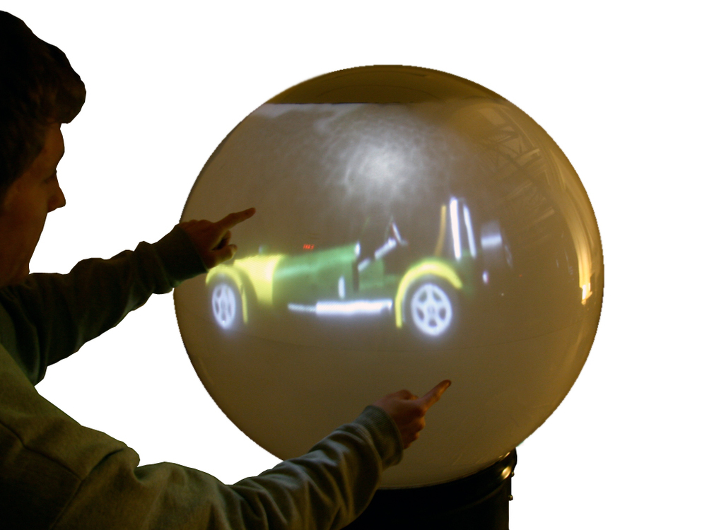 snowglobe (2009) multitouch spherical computer: zoom gesture
