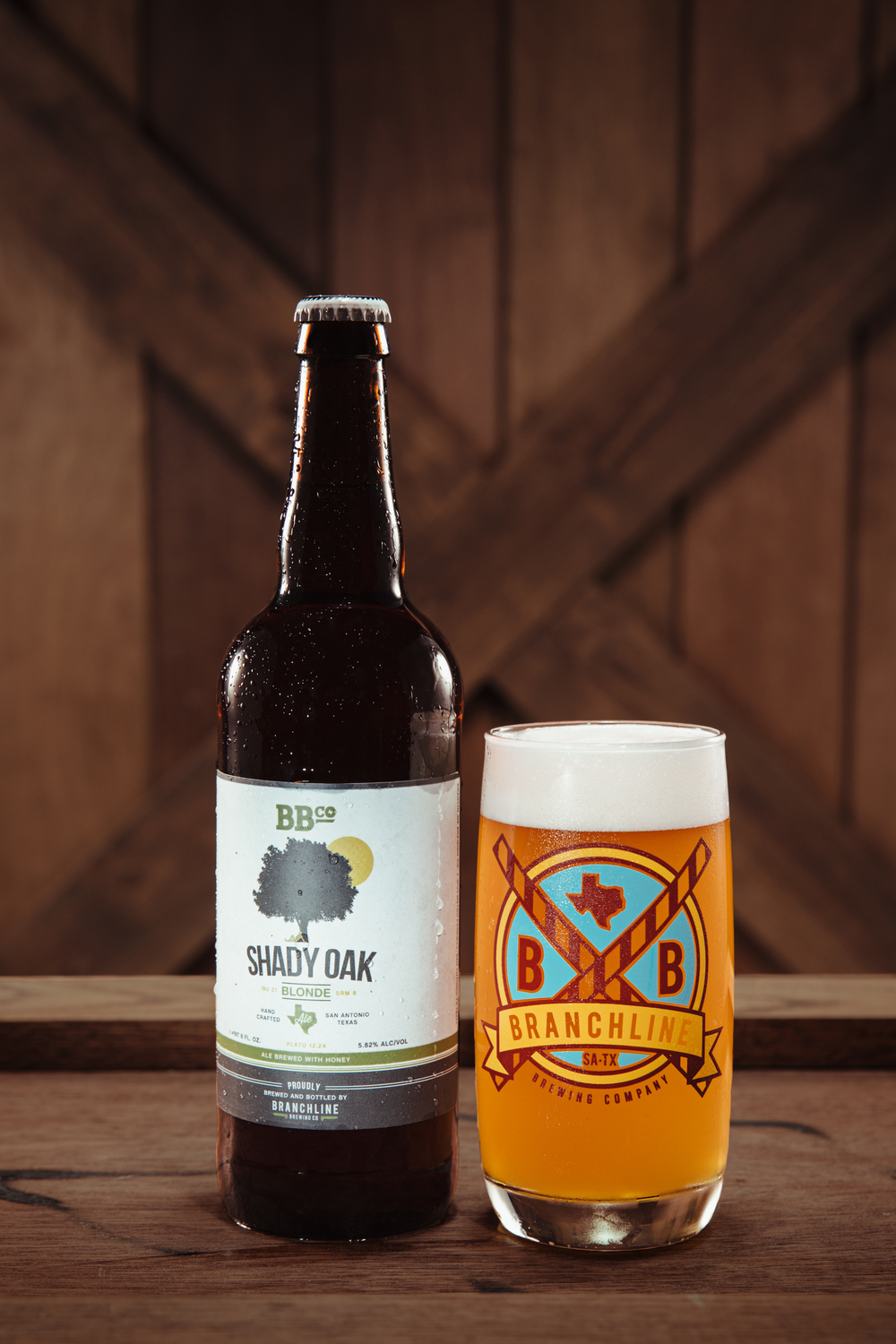 Shady Oak Honey Blonde 22 oz bottles available at select locations around San Antonio and Austin.