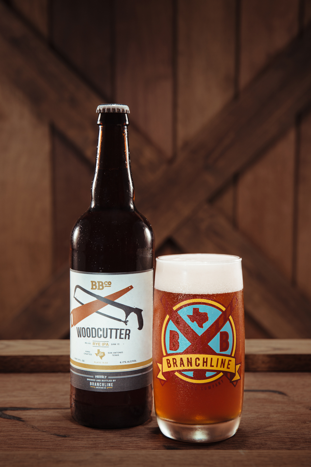 Woodcutter Rye IPA 22 oz Bottles available at select locations around San Antonio and Austin.