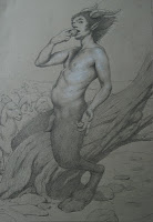Self-portrait as Satyr, Adam Miller, graphite and chalk on paper, dimensions unknown by me