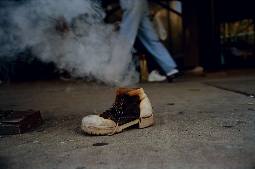Untitled (Burning shoe, NYC), 1995 (from Sidewalk) © Jeff Mermelstein