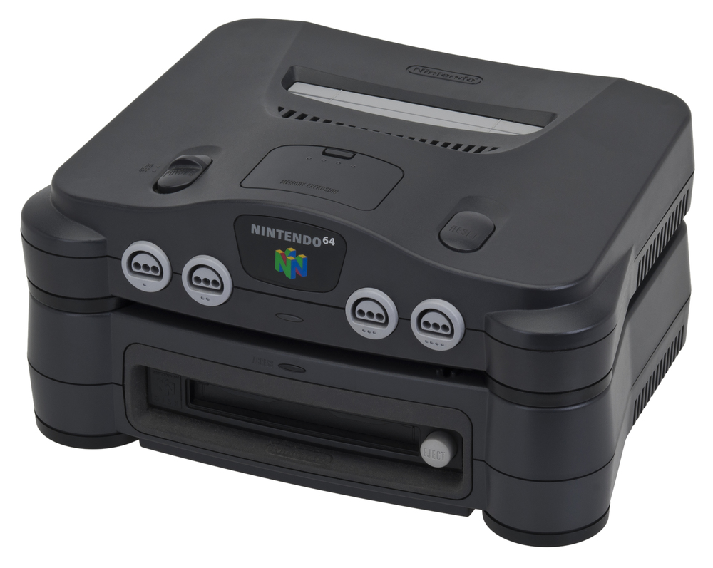 The Nintendo 64 with a 64DD attached.  (via Wikimedia Commons / Evan-Amos)