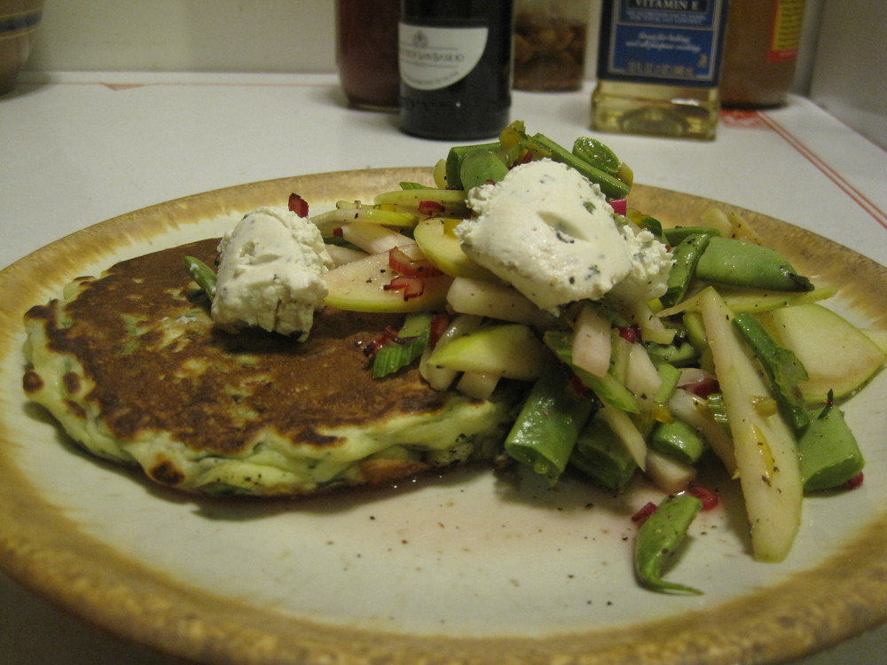 Swiss Chard Pancakes with Apple Celery Kohl-Slaw and Fromage Blanc