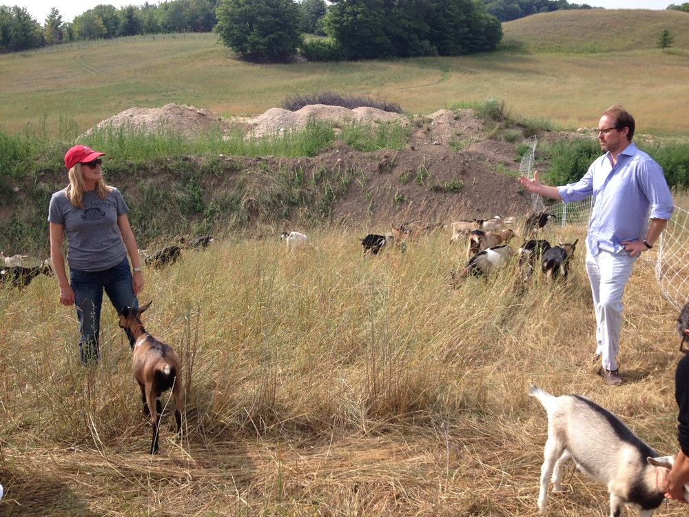 Amy and Mark Spitznagel with their goats.