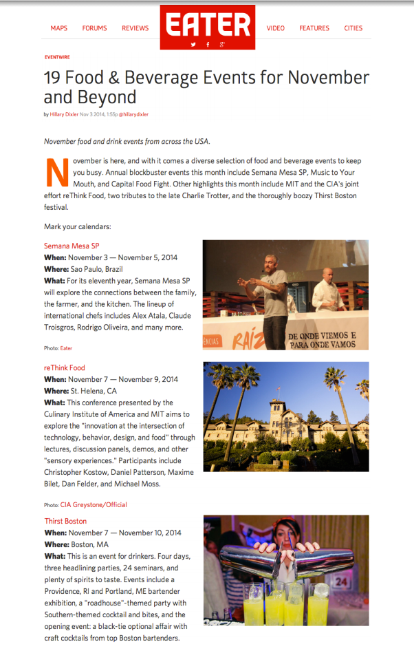 Eater newsletter Nov 03, 2014