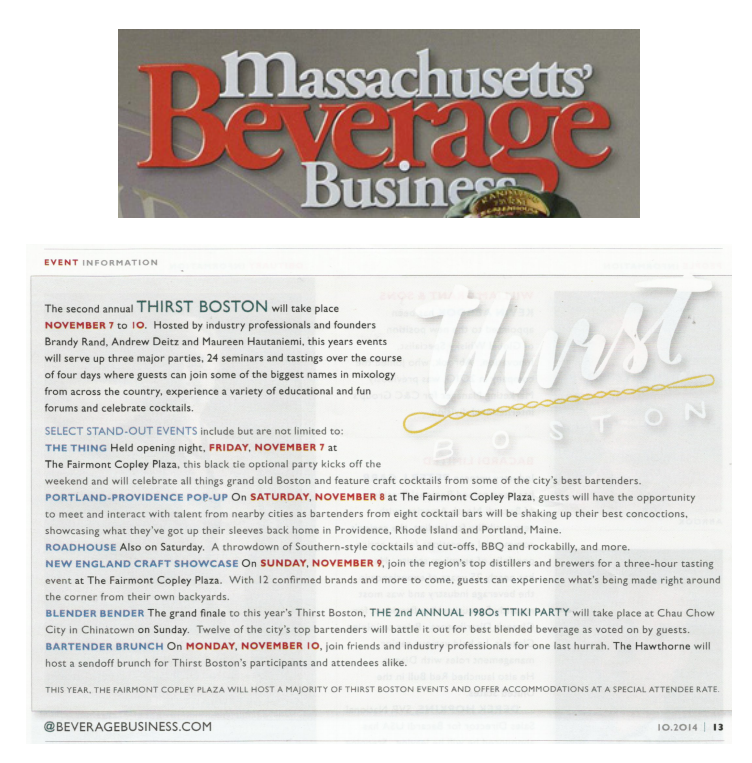 Massachusettes Beverage Business Oct 2014