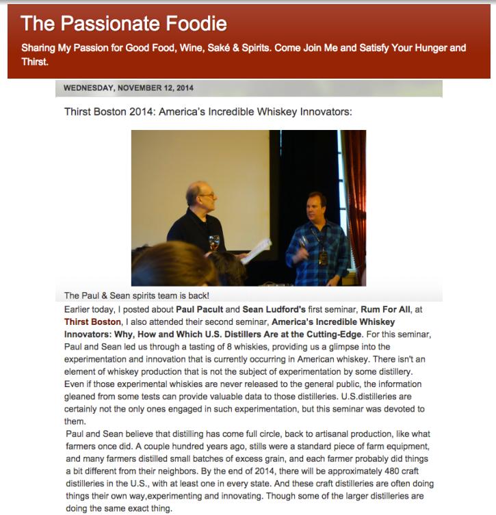 Passionate Foodie - American Whiskey Innovators Seminar Nov 12, 2014