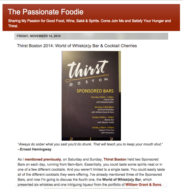 Passionate Foodie - World of Whisk(e)y Bar Nov 14, 2014