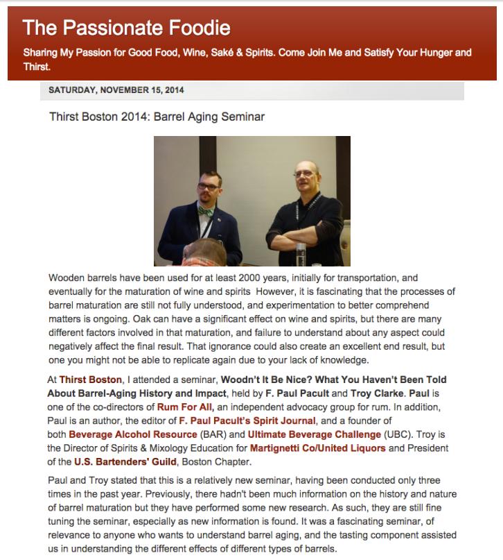 Passionate Foodie - Woodn't It Be Nice Seminar Nov 15, 2014