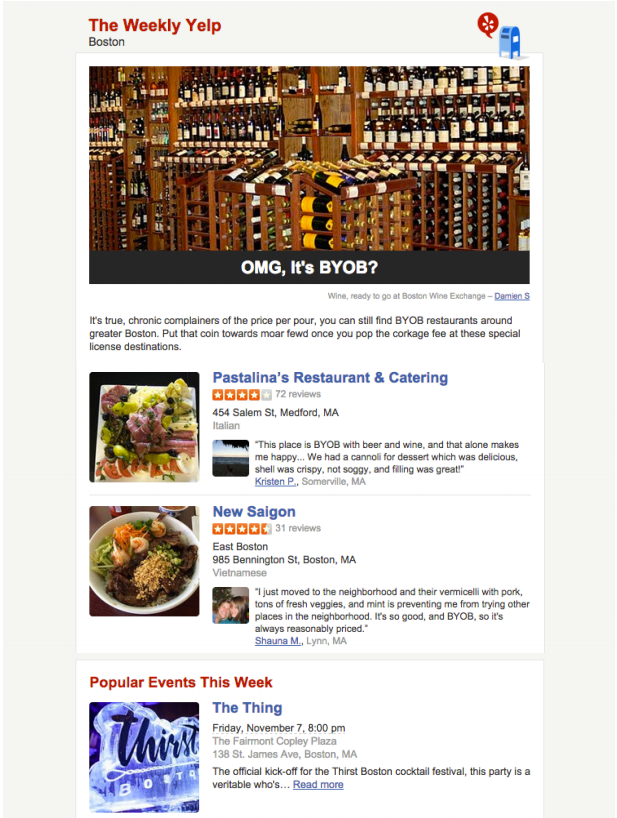 Weekly Yelp Newsletter Nov 05, 2014