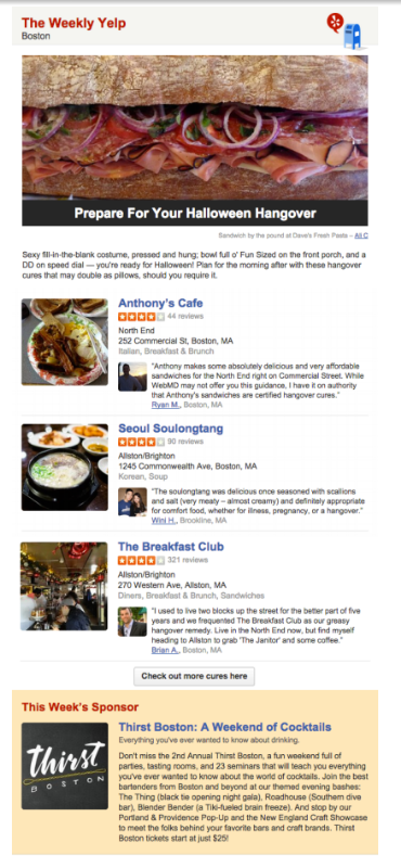 Weekly Yelp Newsletter Oct 29, 2014