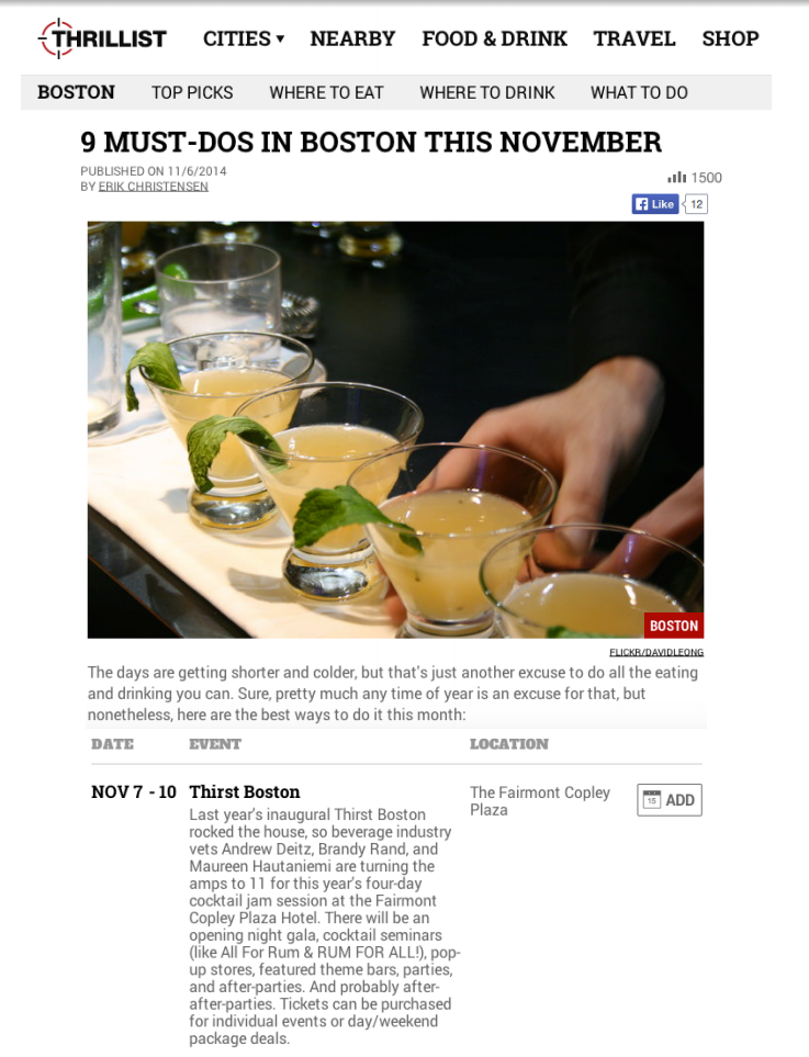 Thrillist - Event Listing / News Nov 06, 2014