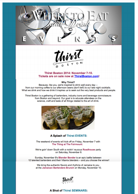 Where To Eat and Drink - Newsletter Oct 29, 2014