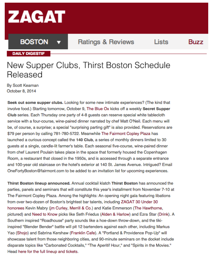 Zagat - Schedule Release Oct 08, 2014