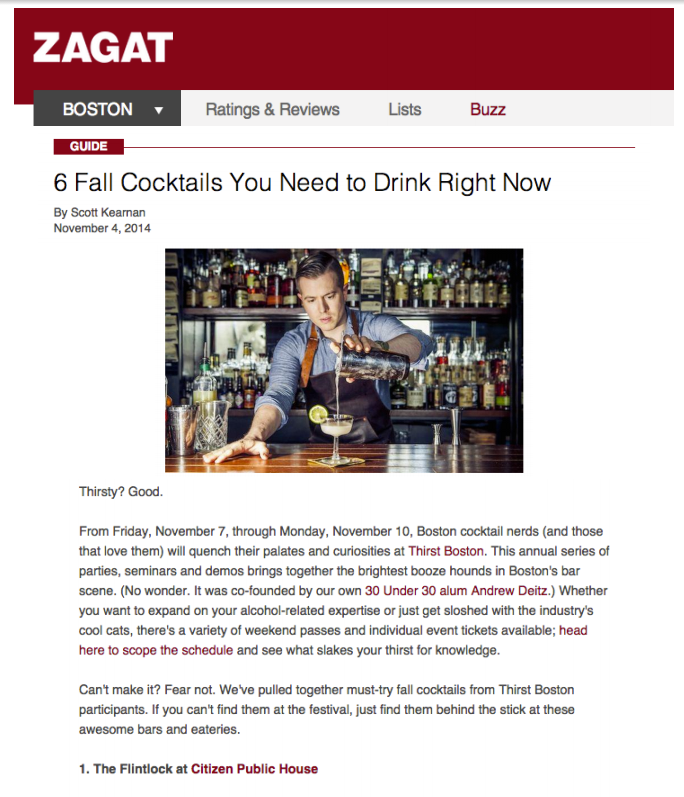 Zagat - Fall Cocktail To Try Nov 04, 2014