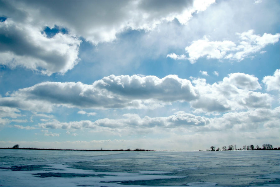 Winter sky over Lake Scugog