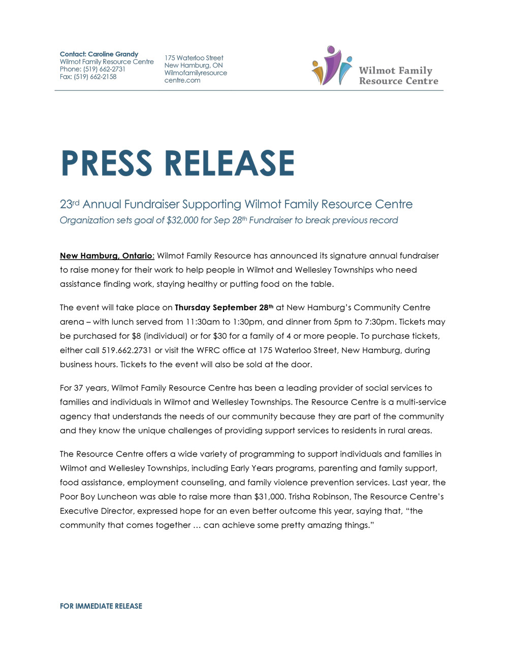 WFRC Fundraiser Press Release